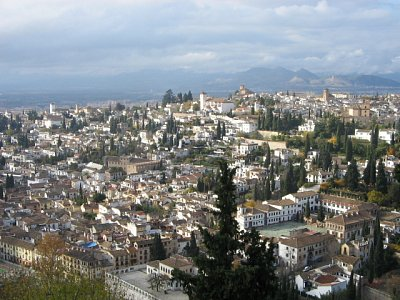pohled na město z Alhambry